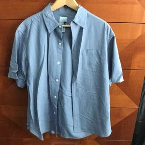 Men's light blue black checkered dress large shirt